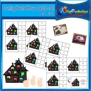 Counting Haunted House Cats Clip Cards (0-10)