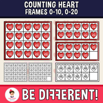 Counting Heart Frames Clipart (0-10, 0-20)
