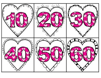 Counting Hearts - Counting by 10's and Counting by 1's