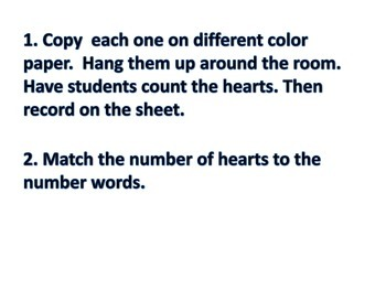 Counting Hearts with Numbers 1-20 Math Center or Whole Group Activity