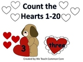 Counting Hearts with Numbers 1-20 Math Center or Whole Gro