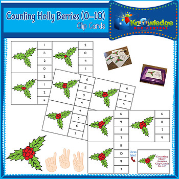 Counting Holly Berries Clip Cards (0-10)