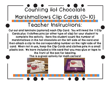Counting Hot Chocolate Marshmallows Clip Cards (0-10)