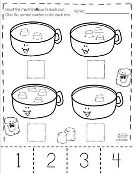 Counting Hot Chocolate Prek Number Worksheet Pack By