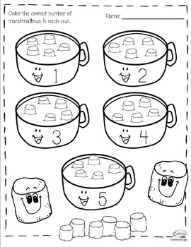Counting Hot Chocolate PreK Number Worksheet Pack by