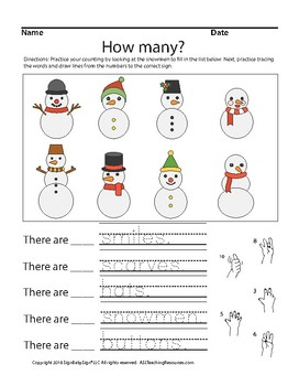 Counting-How Many? Snowman Addition