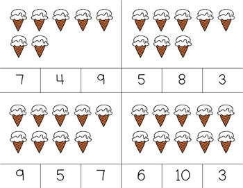 Counting Ice Cream Clip It {A Beginning Work Task)