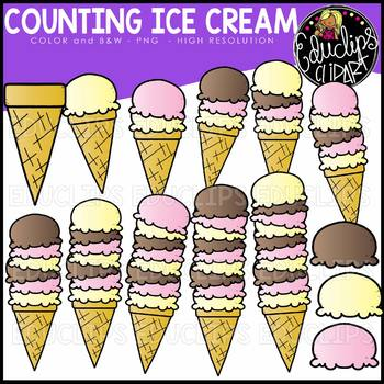Counting Ice Cream Clipart Set {Educlips Clipart}