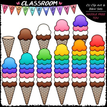 (0-10) Counting Ice Cream Scoops Clip Art - Sequence & Math Clip Art & B&W