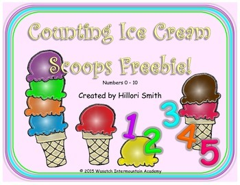 Counting Ice Cream Scoops Freebie Numbers 0-10