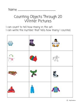 Counting In Arrays- Teen Numbers- Winter Pictures