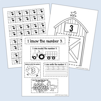 Counting Interactive Notebook - Number Practice 0-20 - Farm