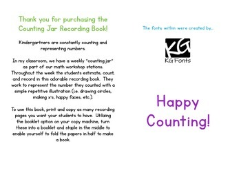 Counting Jar Recording Book