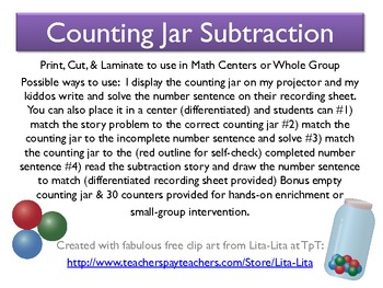 Counting Jar Subtraction