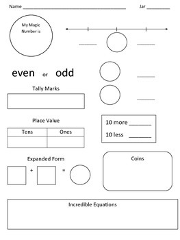 Counting Jar Worksheets