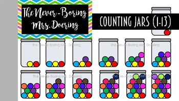 Counting Numbers 1-13 Jars Clipart