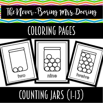 Counting Jars Coloring Pages/Flashcards