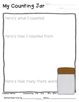 Counting Jars Recording Sheets