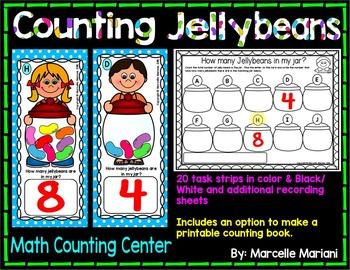 Counting Jellybeans- Math Center Activity- Task Card strip