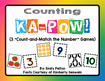 """Counting KA-POW (3 """"Count-and-Match the Number"""" Games) - K"""