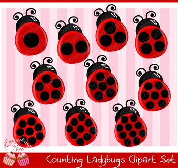 Counting Lady bugs Clipart Set