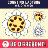 Counting Ladybug Clipart (0-5, 0-10, 0-20) Math Basic Operations Spring Bug
