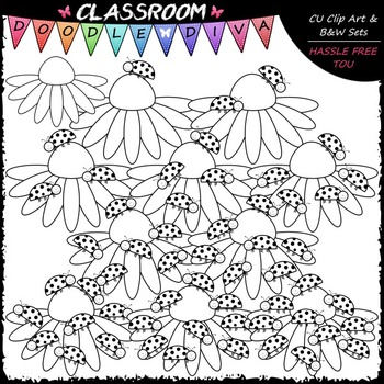 (0-10) Counting Ladybugs Clip Art - Counting & Math Clip Art & B&W Set