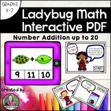 Counting and Addition Math Interactive PDF: Adding to 20 Ladybugs