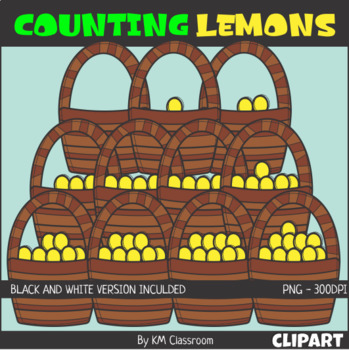 Counting Lemons Basket ClipArt
