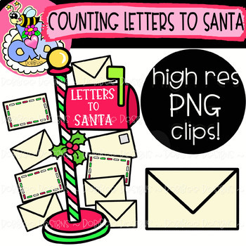 Counting Letters to Santa: Christmas Clipart {DobiBee Designs}