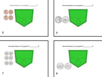 Money Counting Like Coins:  What's in My Pocket Task Cards with Answer Key
