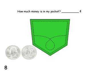 MONEY  Counting Like Coins   What's in My Pocket?  roam the room task cards