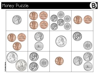 Counting Like and Mixed Coins File Folder Puzzles Zoo Theme