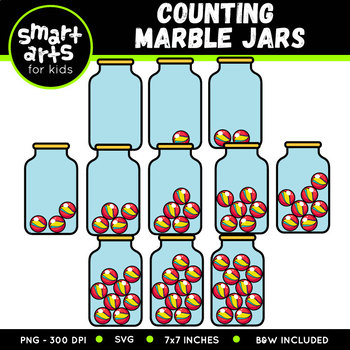 Counting Marble Jars Clip Art