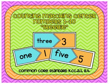 Counting Matching Center Numbers 1-10 FREEBIE