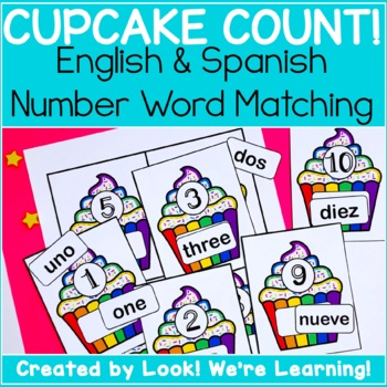 Counting Math Center Activities: Cupcake English and Spanish Number Matching!