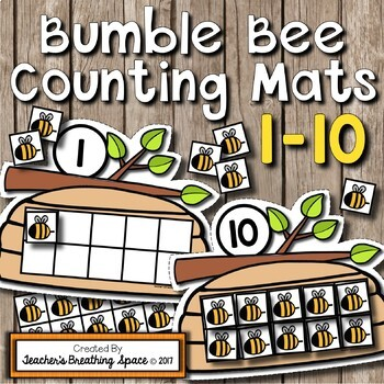 Summer Counting Mats 1-10 --- Bumble Bee Counting Mats with Tens Frames