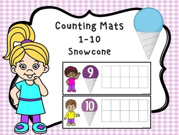 Counting Mats 1-10 Snowcone Dollar Deal