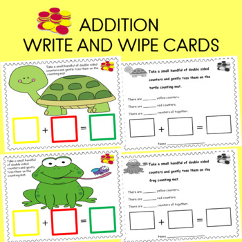 Math Mats Doubled Sided Counters and Addition laminate write and wipe cards