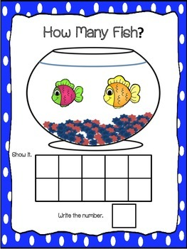 Counting Mats 1-10- Fish Theme and Emergent Reader Counting Booklet
