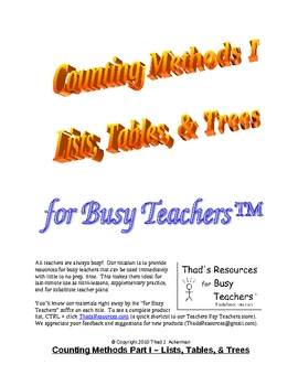 Counting Methods I - Lists, Tables and Tree Diagrams for Busy Teachers