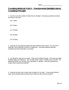 Counting Methods II - Fundamental Counting Principle for Busy Teachers
