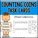 Counting Mixed Coins Task Cards - Dimes, Nickels and Pennies