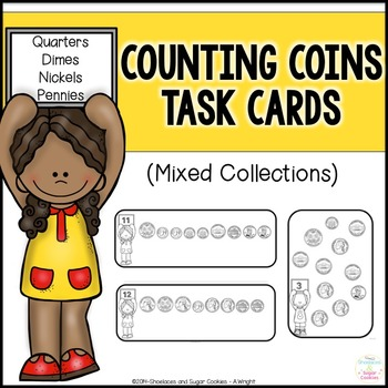 Counting Mixed Coins Task Cards - Quarters, Dimes, Nickels