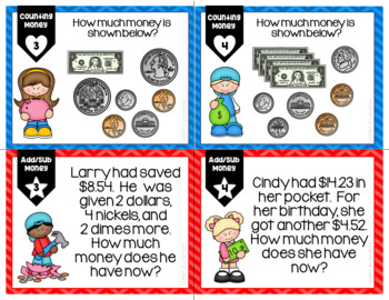 Counting Money Add/Sub Money Differentiated/Leveled Task Cards, Scoot,or Centers