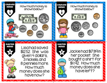 Counting Money Add Sub Money Differentiated Leveled Task Cards