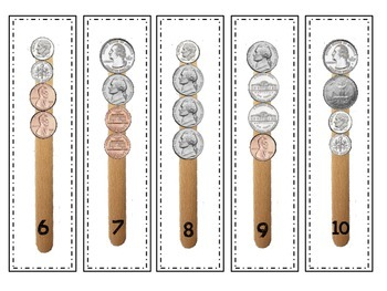 Counting Money Adding a Collection of Coins Popsicle Sticks