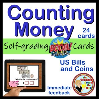 Counting Money - BOOM Cards! (24 Cards) Bills and Coins up to $20