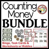 Money BUNDLE-Bingo, Task Cards, & Worksheets w/ Riddles!