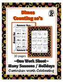 Counting Money Coins ~ Dimes ~ by 10 ~ One Work Sheet - Ma